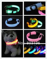 New Arrival Two Side Flashing High Transmittance Pet Collars LED Dog Collars Free Shipping Pink/Yellow/Orange/Blue/Green
