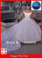 BG63 Elegant Classic A-line Chapel Train Lace Bridal Wedding Dress