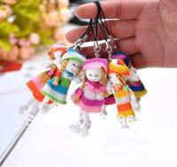 JJ354 free shipping (100pcs/lot) Sweater girl cell phone pendant plush doll girl toys wedding gift