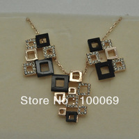 Min.order is $15 (mix order) 18KGP Unregular Geometry Crytal Chocker Necklace & Earring Set Retail & Wholesale Free shipping