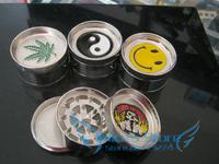 Free shipping (dia 5.3cm) 3-layer Metal herb grinder Silver Tobacco Grinder Machine manual Gift GR009