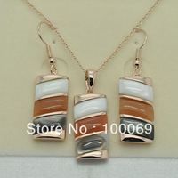 18K Real Gold Plated Colorful Shell Design High Quality Fine Pendant Necklace &Earrring Jewelry Set Free Shipping