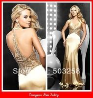 ED11 Best Selling Top Full Beading Gold Evenig Formal Dress 2013