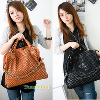 Fashion Womens Ladies Korean Style Vintga Casual Hobo Designer PU Leather Chain Shoulder Bag Handbag New Free Shipping BG035