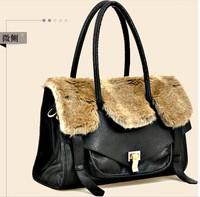 women's winter style handbag fake rabbit hair tote PU black casual fur fashioned shouder bag