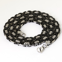 XL-102 Wholesale/retail Free Shipping 54cm*8mm Fashion Men Heavy Stainless Steel Jewellery Silver&black Byzantium Chain necklace