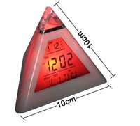 1lot=50pcs Glowing 7-sColor Change LED Digital Triangle Pyramid Alarm desk Clock date