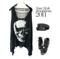 IRIS Knitting Fashion Women's 2013 Skull Skeleton Cartoon Punk Style Back Hollow Out Vest Tops T-shirts Free Shipping AS-046