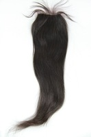 """Natural Color Straight Bleached Knots Virgin Brazilian Hair Lace Top Closure(4""""*4"""")"""