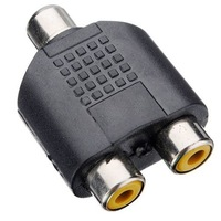 1 Female to 2 Female RCA PLUG AV Splitter Adapter  10pcs/lot