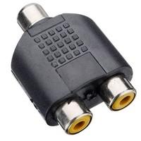 1 Female to 2 Female RCA PLUG AV Splitter Adapter  10pcs/lot