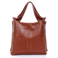 Vintage multi pockets women genuine leather handbags / retro women tote / leather shoulder messenger bag for ladies
