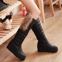 Winter plus velvet thermal boots flat heel snow boots platform boots platform high-leg boots