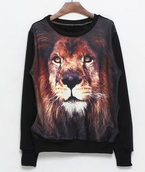 Free shopping  Fashion lion head pattern stitching sweater TB 2643