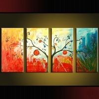 hand-painted wall Colorful red green trees home decoration abstract Landscape oil painting on canvas 4pcs/set,mixorde