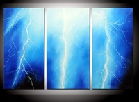 hand-painted The Blue sky lightning High Q. Wall Decor Modern Landscape Oil Painting on canvas 10x20inch 3pcs/set mixorde Framed