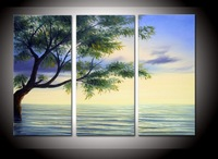 hand-painted The Clear water tree High Q. Wall Decor Modern Landscape Oil Painting on canvas 10x20inch 3pcs/set mixorde Framed