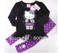 children's  Spring autumn kids clothing red black long-sleeves cartoon hello kitty tutu T shirts + pants girls 2 pces set