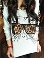 IRIS Knitting 2013 New Women's Trendy Clothes Tops Tees Leopards Glasses Kitten T-shirts Tops Hot Sale