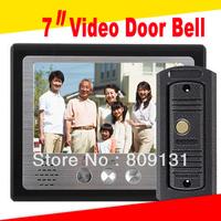 Free shipping  visible doorbell 7 inch color video door phone/video doorbell Kit 1 camera+1 monitors