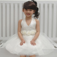 Children's clothes female child paillette formal costume tulle princess dress girls performance clothing free shipping