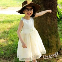 Children's clothes female child tulle lace princess dress, girl's dress, summer clothes for girl, yellow pink free shipping