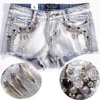 desinger brand new lady Sunday best 2012 perfect water wash wearing white hole beading diamond women's denim shorts