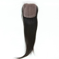 """Straight  Bleached Knots Virgin Brazilian Hair Lace Top Closure(5""""*5"""") Hand Tied Free Parted"""