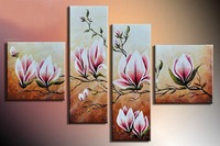 hand-painted wall art Bright red flowers in spring home decoration abstract Landscape oil painting on canvas 4pcs/set mixorde