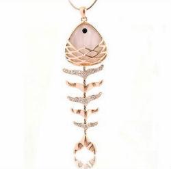 7ctw White simulated diamond&gemstone fishbone necklace pendants genuine 18K gold plated Fine jewelry FREE SHIPPING