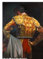 "100% HandPainted Beautiful Art Matador Wears Red Bullfig Oil Painting On Canvas 24""x36"""