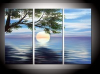 hand-painted The Island tree High Q. Wall Decor Modern Landscape Oil Painting on canvas 10x20inch 3pcs/set mixorde Framed