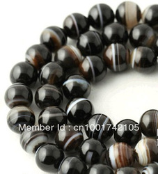 "Min order 8USD,Wholesale 8mm Natural Black Stripe Agate Onyx Gem Round Loose Beads 15"" fashion jewelry beads jewelry making(China (Mainland))"