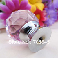 Free shipping 30mm  Crystal Glass Cabinet Knob Drawer Pull Handle Kitchen Door Wardrobe Hardware Pink