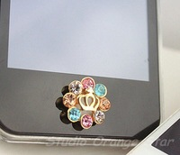 1PC Bling Crystal Crowned Framed with Colorfuld Manmade Diamond Home Button Sticker, Cell Phone Charm