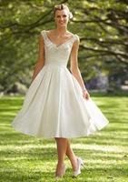 Spring Fashion Princess Beaded Satin V-neck Knee Length Wedding Dress Sweet