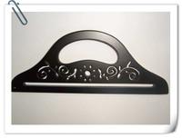 "FREE SHIPPING 10.1""*3.9""  black color  half shaped wood handbag handles with laser flowers"