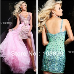 2013 Euro Type Sheath V-neck Short Crystals Prom Dress Removable Long Skirt(China (Mainland))