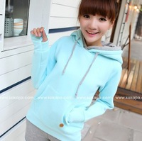 2013 candy color double layer hooded lucy refers to long-sleeve pullover thickening fleece sweatshirt women's