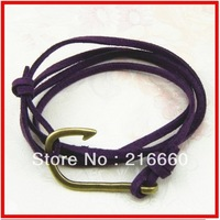 Leather bracelet with brass hook jewelry