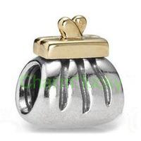 Min order $10 Free Shipping Fashion 925 Silver Bead Charm European Silver Handbag Moneybag Bead Fit BIAGI Bracelet H386