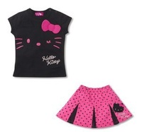 Free shipping baby girl summer dress, Children hello kitty   skirt/Suit/Wear   t shirt+dress