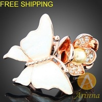 Free shipping Arinna silver Crystal ring 18k gold plated Fashion Ring Rhinestone Crystals  element  Ring  J2759