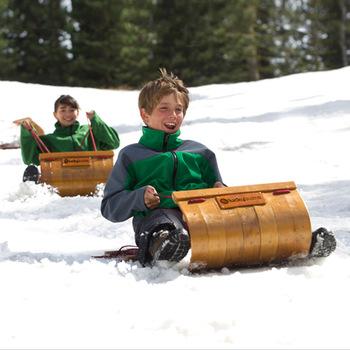 sled snow sledge wooden sled Fashion tobaggan skiing car wool child skiing board 5 - 6 gadders