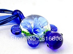 Animal turtle shape 3D Flower Girl's Fashion Charms Lampwork Murano Glass pendant Necklace 1pcs Free&Fast to US(China (Mainland))