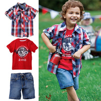 5 sets/lot-New Arrival baby clothes set/short sleeve Boy's clothing set