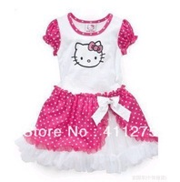 wholesales  girls clothing   dresses summer  kids cartoon hello kitty dress girl children dots clothes  GGX