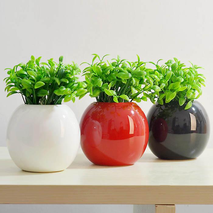 Freeshipping Round Vase Ceramic Vases Flower Pot White Black Red High Quality Home Decoration