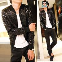 Free shipping new 2014 spring thin leopard print leather causal jacket men korean fashion slim fit men's clothing /JK4