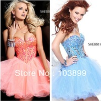 Beautiful Empire Sweetheart Crystals Short Organza Charming Sweetheart Prom Dress 2013
